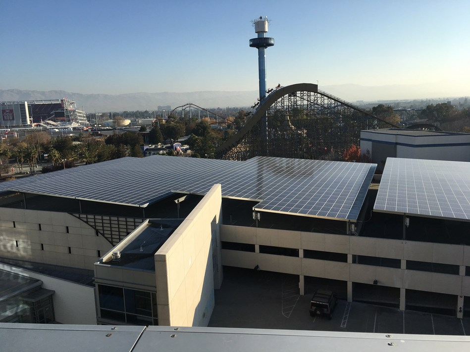 Solar panels covering the upper level of the Towers at Great America parking structure, providing clean, renewable electricity and shaded parking.