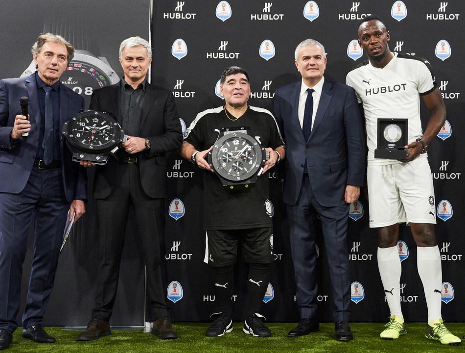 Michel Pont, Jose Mourinho, Diego Maradona, Ricardo Guadalupe, Usain Bolt, Alan Shearer (PRNewsfoto/Hublot)