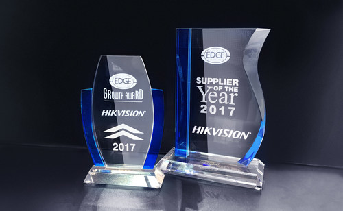 Hikvision was awarded 'Supplier of the Year 2017' and the 'Growth Award' from distributor partner, The Edge Group.
