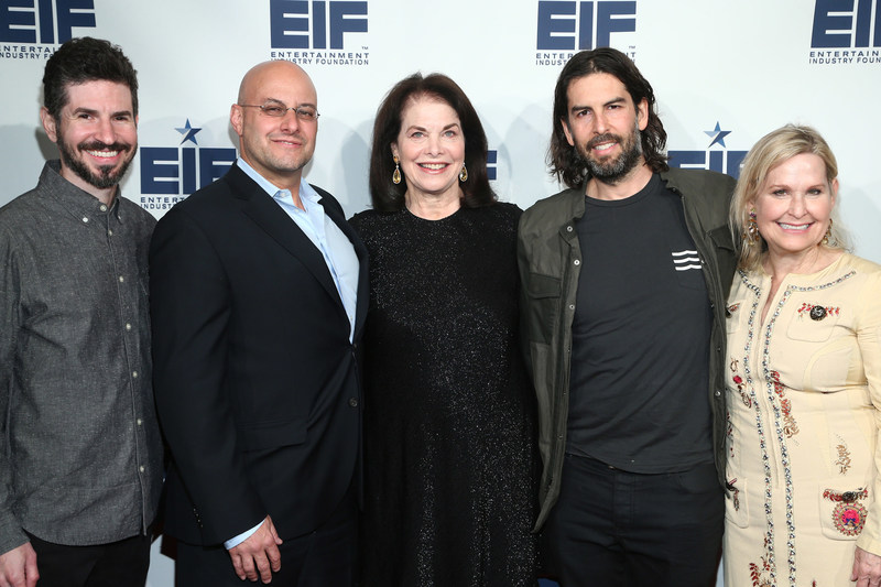Brad Delson of Linkin Park, EIF Board Chair Chris Silbermann, EIF Board Member Sherry Lansing, Rob Bourdon of Linkin Park, and EIF CEO Nicole Sexton attend the Entertainment Industry Foundation 75th Anniversary Party on March 20th, 2018 in Los Angeles, California (photo by Tommaso Boddi/Getty Images for Entertainment Industry Foundation)