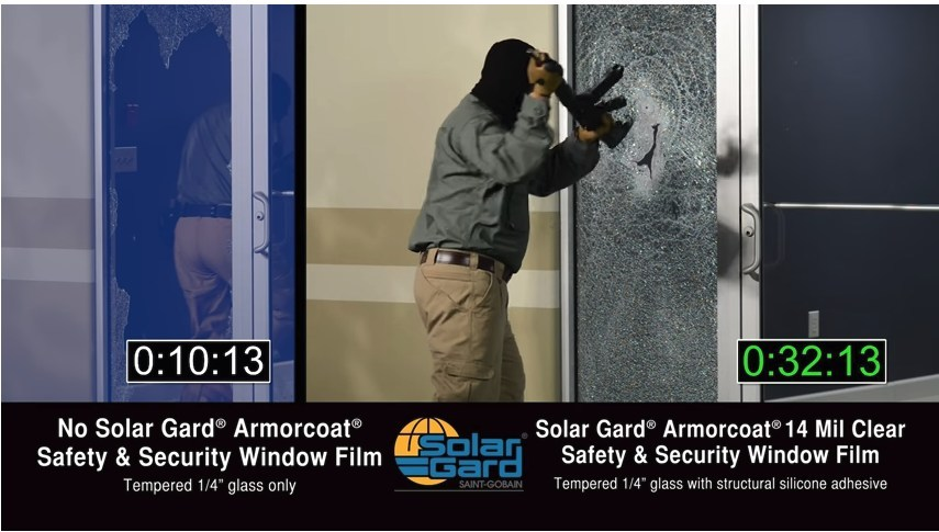 An intruder test shows it takes more than 1:30 to break through the Armorcoat protected window. While the discussion of school safety continues by lawmakers around the country, San Diego-based Solar Gard is speaking out and urging school districts to incorporate its revolutionary intrusion protection and blast mitigation product, Armorcoat® Safety & Security Window Film, as part of district-wide safety standards.
