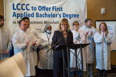 Lorain County Community College President, Dr. Marcia Ballinger, announces approval from the Ohio Department of Education to deliver an applied bachelor's degree in microelectronic manufacturing.