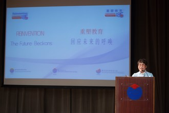 YCIS & YWIES CEO and School Supervisor Dr Betty Chan gives opening speech at the conference