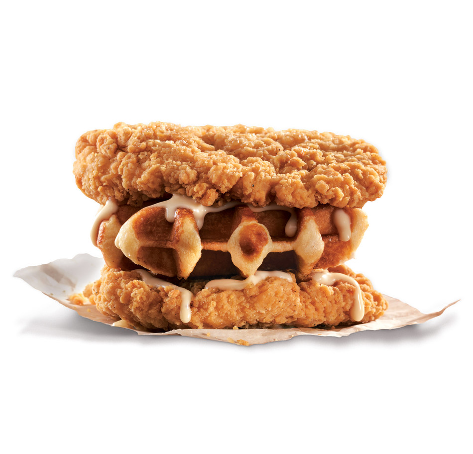 KFC's new Waffle Double Down is made from two delicious all-chicken fillets sandwiched around a delectable Belgian waffle and drizzled in a uniquely Canadian maple aioli sauce (CNW Group/KFC Canada)