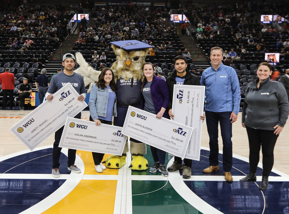 (Left to right) Jarett Tauiliili; Kailan Anderson; WGU's mascot, Sage; Jadyn Blandin; Mostafa Elkhouly; WGU President Scott D. Pulsipher; and WGU Scholarship Manager Amanda Savage.
