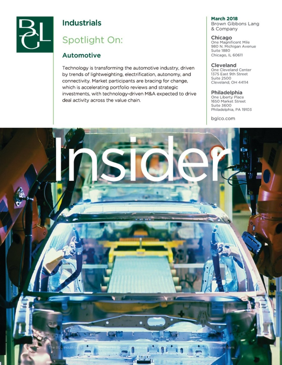 The BGL Industrials Insider highlights capital markets and mergers and acquisitions activity, financial and operating performance of certain publicly-traded companies, and trends and issues affecting the industry. Technology-driven M&A will drive deal activity across the value chain as companies look to stay viable in the innovation race.