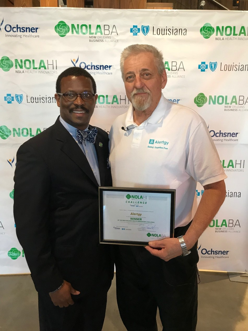 NOLABA President & CEO Quentin Messer (left) stands with New Orleans Health Innovators Diabetes Care Challenge winner Marc Rippen, President & Founder of Alertgy.