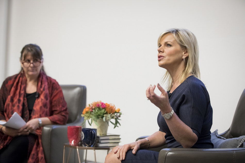 Journalist Gretchen Carlson joined Robbin Crabtree, Ph.D., dean of Loyola Marymount University's Bellarmine College of Liberal Arts, for the Alliance of Women Philanthropists' Inaugural Speaker Series on Wednesday, March 21, 2018. Photo credit: Loyola Marymount University