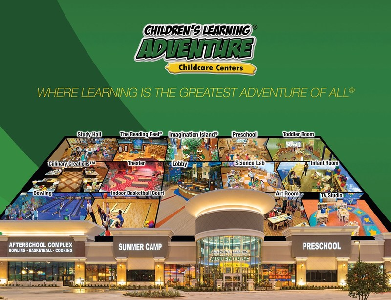 Children's Learning Adventure campuses feature several stimulating learning environments, including but not limited to: a science center complete with a planetarium; a multimedia room with a real TV studio utilizing video cameras and more; an expansive library; a technology center fully equipped with iPads and tablets; and an expansive outdoor playground with regulation basketball and tennis court