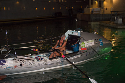 Briton Kiko Matthews, 36, arriving in Barbados last night having smashed the World Record as the fastest woman to complete a solo trans-Atlantic row in 50 days (PRNewsfoto/Kiko Matthews)