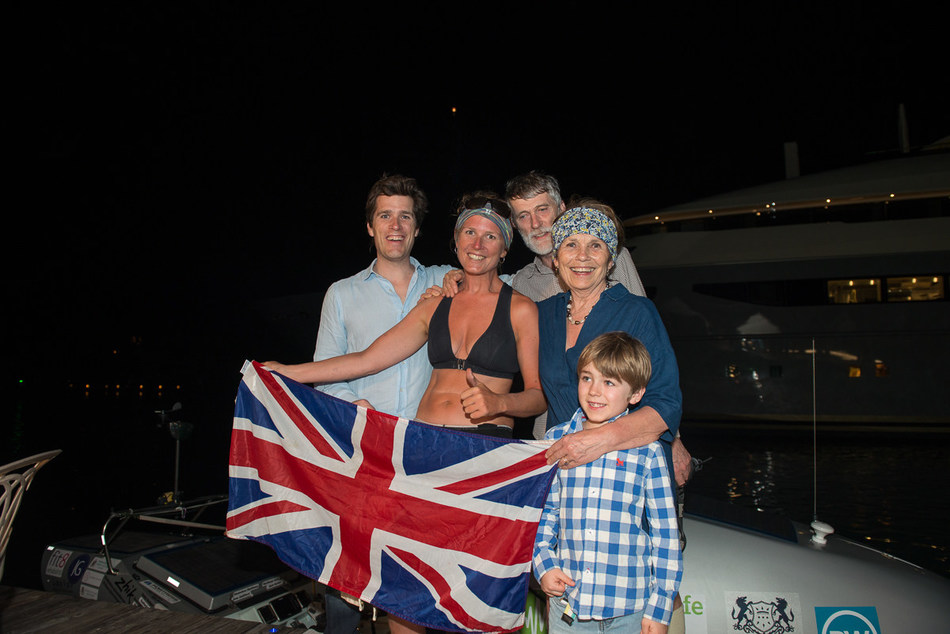 Kiko Matthews, has broken the World Record as the fastest woman to solo row the Atlantic, pictured with h(l-r) brother Robin, father Paddy, mother Genevieve, nephew Louis (PRNewsfoto/Kiko Matthews)