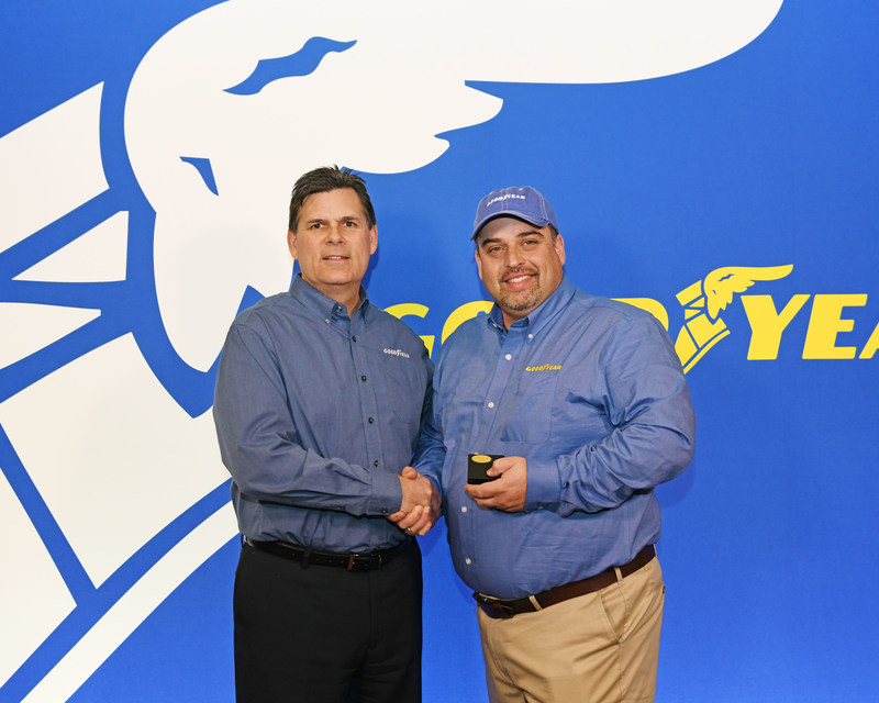 Frank Vieira (right, with Gary Medalis, marketing director, commercial tire, Goodyear) is the 35th recipient of The Goodyear Tire & Rubber Company's Highway Hero Award.