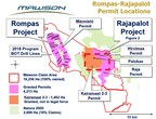 Figure 1: Permit areas at the Rompas-Rajapalot Project in Finland. (CNW Group/Mawson Resources Ltd.)