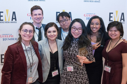 Pictured here are the first place winners from the 2018 Emerge Media Awards. (CNW Group/University of Guelph-Humber)