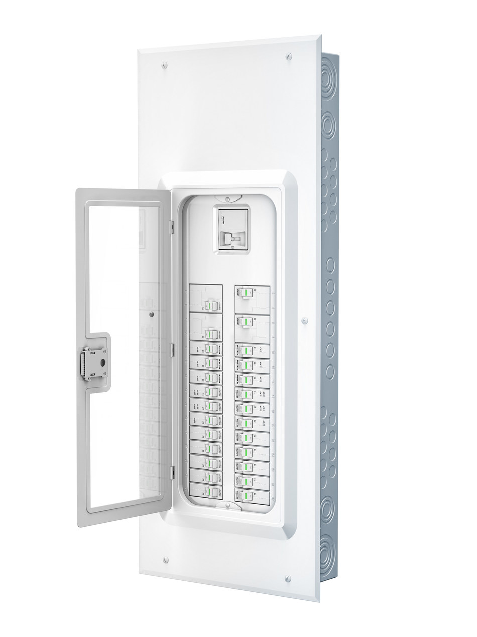 Unlike typical circuit breaker boxes, the Leviton Load Center was designed to complement any home interior. Its sleek, white enclosure and optional window create an approachable interface that helps homeowners better understand the status of their home's power.