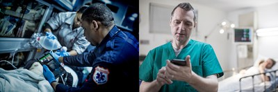Lumify with Reacts is a valuable tool for emergency medical service providers with long transit times, who can stream a live ultrasound exam from the back of an ambulance while discussing the patient's condition with an emergency department physician. (CNW Group/Reacts)