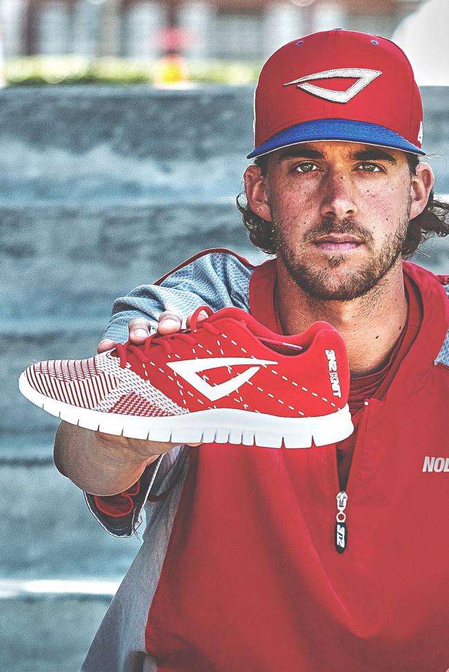 Philadelphia Phillies Aaron Nola holds 3N2 K-NIT training shoe