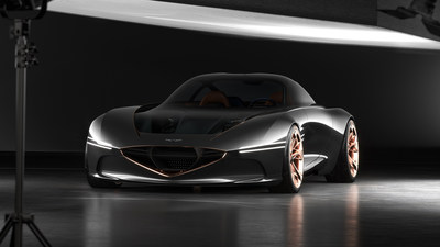 The Genesis Essentia Concept, a thoroughly modern interpretation of a highly desirable classic Gran Turismo. With an estimated 0-to-60 time of 3.0 seconds, Essentia brings sports car-level performance to the realm of all-electric luxury coupes.