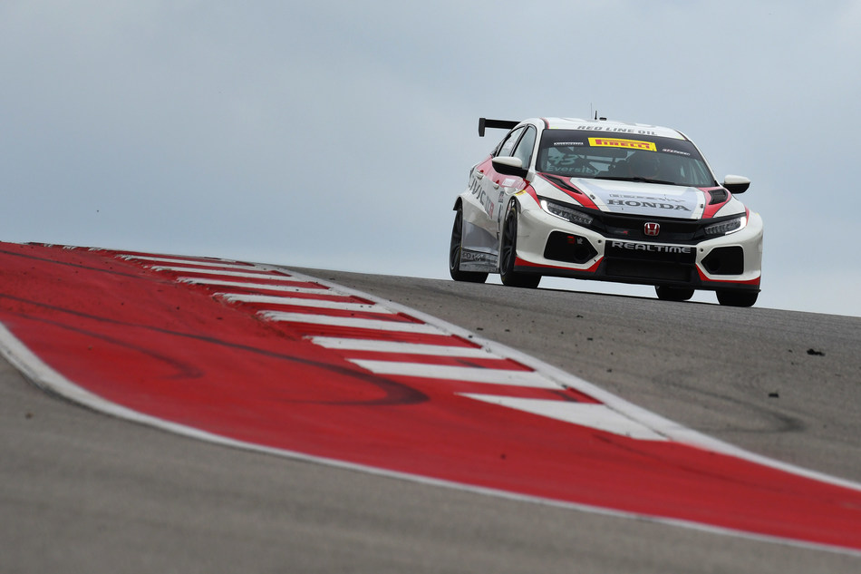 RealTime Racing's Ryan Eversley scored a pair of podium finishes this weekend in the North American racing debut of the Honda Civic Type R TCR at the Circuit of the Americas in Austin, Texas.