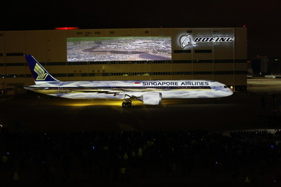 Boeing and Singapore Airlines today celebrated the delivery of the first 787-10 airplane, the newest and largest member of the Dreamliner family and a jet that will set a new global standard for fuel efficiency. The airplane is seen here outside of Boeing South Carolina, during a delivery celebration attended by about 3,000 people. (Joshua Drake photo) (PRNewsfoto/Boeing)