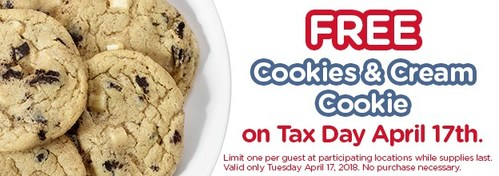 Free Cookie at Great American Cookies on Tax Day.