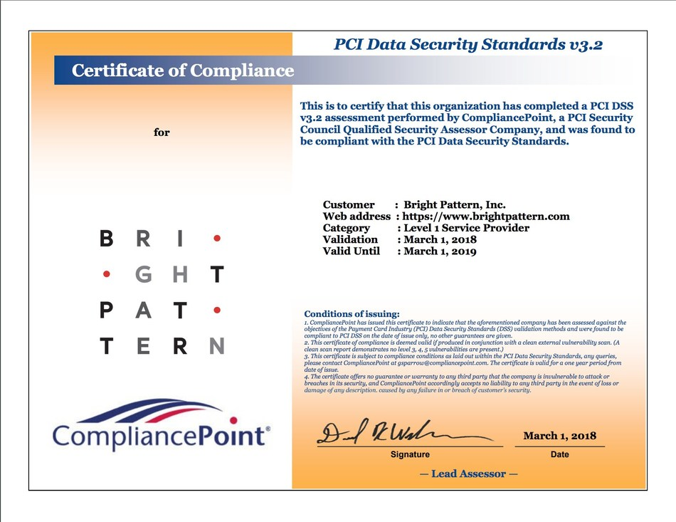 Bright Pattern Secures PCI 3.2 Certification from Compliance Point to Support Enterprise Contact Centers
