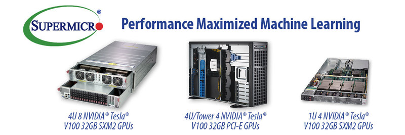 Supermicro offers best performing GPU servers with Tesla V100 PCI-E and V100 SXM2 32GB GPUs