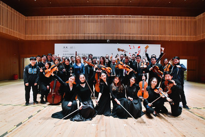 NDR's leading musicians and SOA students posing for photographs following the Volkswagen Group China Music Night concert