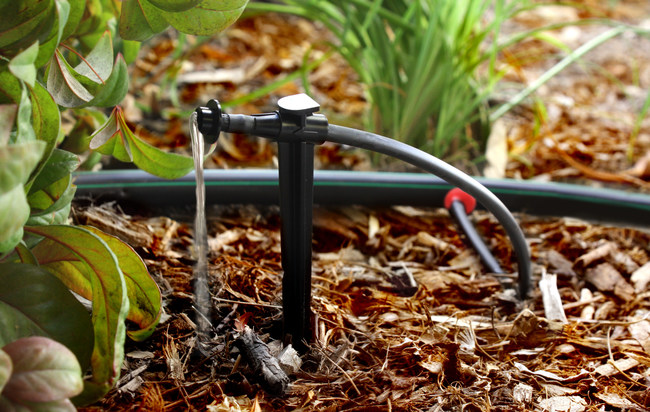 Use drip for shrubs and flower beds. Drip irrigation delivers the water directly to the base of plants, saving up to 80% over watering with traditional sprinklers. Drip irrigation prevents weeds and encourages healthier plants by watering each plant's root zone, eliminating overspray and evaporation.