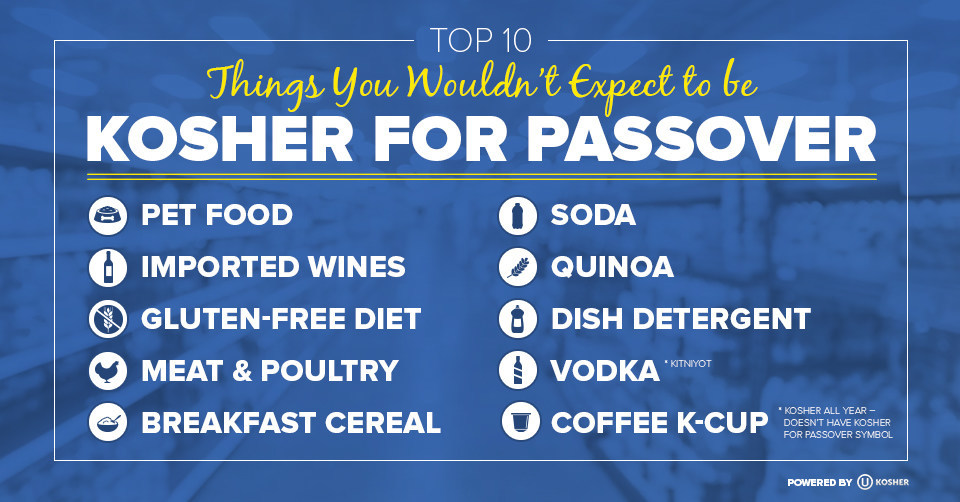 An Infographic from OU Kosher, the world's largest and most widely recognized kosher certification agency, lists: 10 Things You Wouldn't Expect to be Kosher for Passover