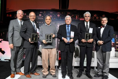 From left to right: SME CEO and Executive Director, Jeff Krause; Paul Oldroyd, Technical Fellow, Bell Helicopter; Bob Swartz, Chairman and Founder of Impossible Objects; Carroll GrantComposites Consultant/Contractor, Aerospace Composites Consulting; Larry Pelham, Senior Engineer, NASA Marshall Space Flight Center; and Tom Kurfess, 2018 SME President and Professor and HUSCO/Ramirez Distinguished Chair in Fluid Power and Motion Control, Georgia Institute of Technology.