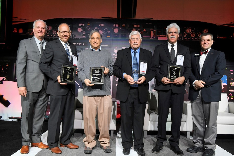 From left to right: SME CEO and Executive Director, Jeff Krause; Paul Oldroyd, Technical Fellow, Bell Helicopter; Bob Swartz, Chairman and Founder of Impossible Objects; Carroll Grant Composites Consultant/Contractor, Aerospace Composites Consulting; Larry Pelham, Senior Engineer, NASA Marshall Space Flight Center; and Tom Kurfess, 2018 SME President and Professor and HUSCO/Ramirez Distinguished Chair in Fluid Power and Motion Control, Georgia Institute of Technology.