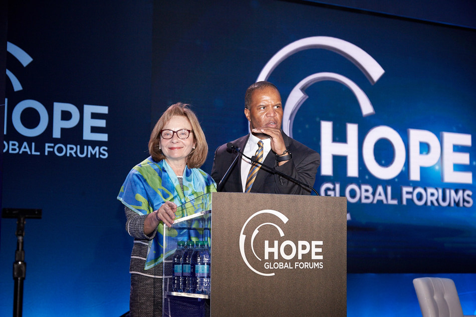 CIT Chairwoman and CEO Ellen Alemany with Operation Hope Founder and CEO John Hope Bryant announcing the Launch + Grow small business series.