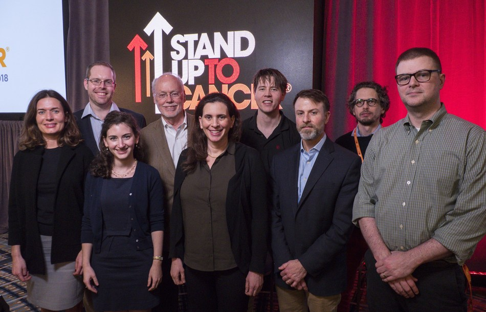 Phillip A. Sharp, PhD, (fourth from left) with scientists named as recipients of the 2018 Stand Up To Cancer Phillip A. Sharp Innovation in Collaboration Awards. Left to right: Marta Luksza, PhD, formerly at the Institute for Advanced Study at Princeton, New Jersey, moving to the Icahn School of Medicine at Mount Sinai; Trevor Pugh, PhD, Princess Margaret Cancer Center; Michal Sheffer, PhD, Dana-Farber Cancer Institute; Dr. Sharp; Claire F. Friedman, MD, Memorial Sloan Kettering Cancer Center.