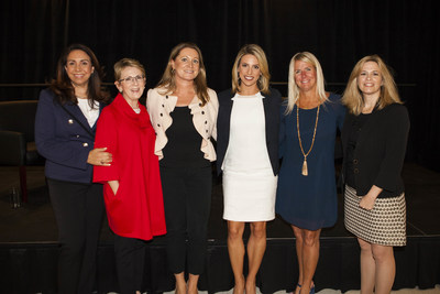 From left to right: Delia Passi, Chief Mission Officer, Women's Choice Award; Kim Sharan, Founder & CEO, Kim M. Sharan, LLC; Laura Smith, Vice President, Customer Success - North America, Hertz; Emily Burris, Morning Anchor, ABC7; Jodi Allen, Chief Marketing Officer, Hertz; Erika Burk, Vice President, Human Resources, Porsche Cars North America