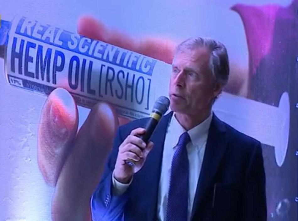 Medical Marijuana, Inc. CEO Dr. Stuart Titus speaking at the symposium. Photo Credit: RBS TV