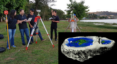 Researchers use geodetic GPS to investigate the flatness of the water in the Três Marias Dam in Minas Gerais.