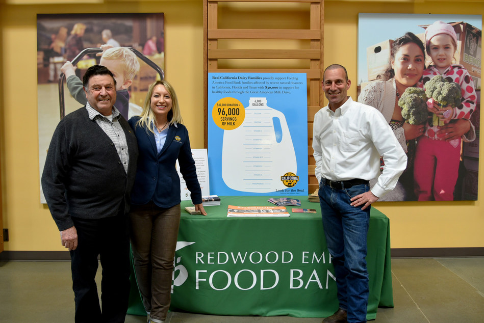 Left to Right – Sonoma County Dairy Farmer and CMAB Board Member, Domenic Carinalli, Jr., CMAB Director of Communications, Jennifer Giambroni, and Redwood Empire Food Bank CEO, David Goodman.