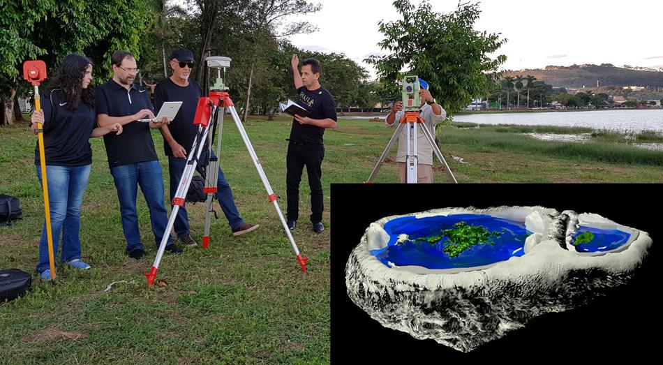 Investigadores utilizan un GPS geodésico para investigar la planicidad de las aguas en la Represa de Tres Marías, en Minas Gerais.