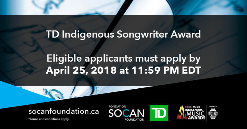 The TD Indigenous Songwriter Award recognizes the musical talent and creativity of the best music created, in any genre, by songwriters and composers of Indigenous descent. (CNW Group/SOCAN)