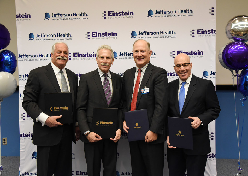 From left: Barry R. Freedman, President and Chief Executive Officer, Einstein Healthcare Network; Lawrence S. Reichlin, Chairman, Board of Trustees and Board of Overseers, Einstein Healthcare Network; Stephen P. Crane, Chairman of the Board, Thomas Jefferson University; Dr. Stephen Klasko, President and Chief Executive Officer, Thomas Jefferson University and Jefferson Health.