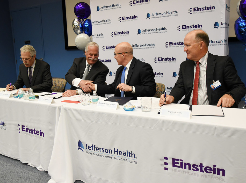Leadership from Jefferson and Einstein Healthcare Network announced today the signing of a non-binding Letter of Intent (LOI) to merge, potentially bringing together two historically linked academic medical centers whose shared vision is to improve the lives of patients and their communities.