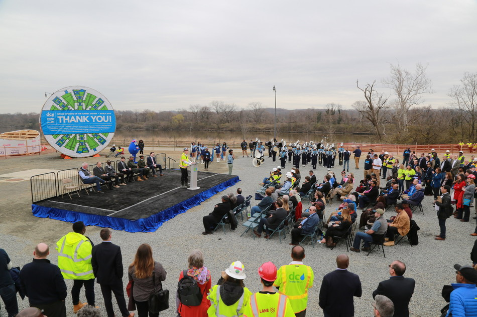 Today DC Water and the District celebrate a cleaner Anacostia River (in the background).