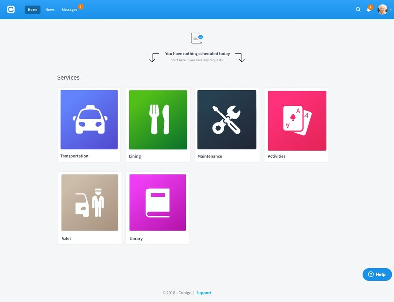 After creating a Cubigo account and logging in, seniors simply tap the desired Cube and within seconds they can order meals, request help from maintenance, or view their building's activity calendar and sign-up for events.