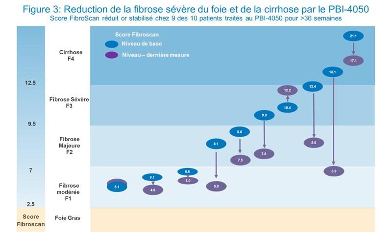 Figure 3 : Réduction de la fibrose sévère du foie et de la cirrhose par le PBI-4050 (Groupe CNW/ProMetic Sciences de la Vie Inc.)