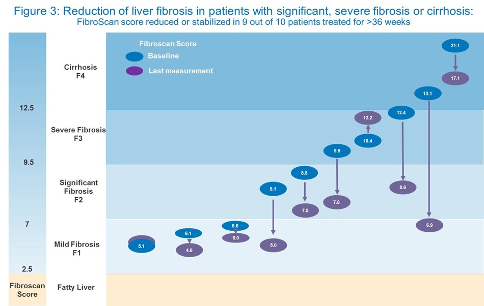 Figure 3: Reduction of liver fibrosis in patients with significant, severe fibrosis or cirrhosis (CNW Group/ProMetic Life Sciences Inc.)