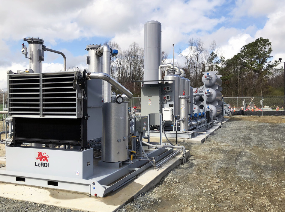 This OptimaBio facility in Duplin County, N.C., gathers methane gas from five local hog farms and converts it to pipeline-quality natural gas. The gas is transported to a Duke Energy gas power plant where it is part of the fuel mix. It is the first time Duke Energy has used renewable natural gas from in-state farms at its power plants.
