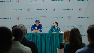 WestJet today debuted a new round of television ads featuring pitcher, Aaron Sanchez, television play-by-play announcer for the Toronto Blue Jays, Buck Martinez and Marci, WestJet super fan. (CNW Group/WESTJET, an Alberta Partnership)