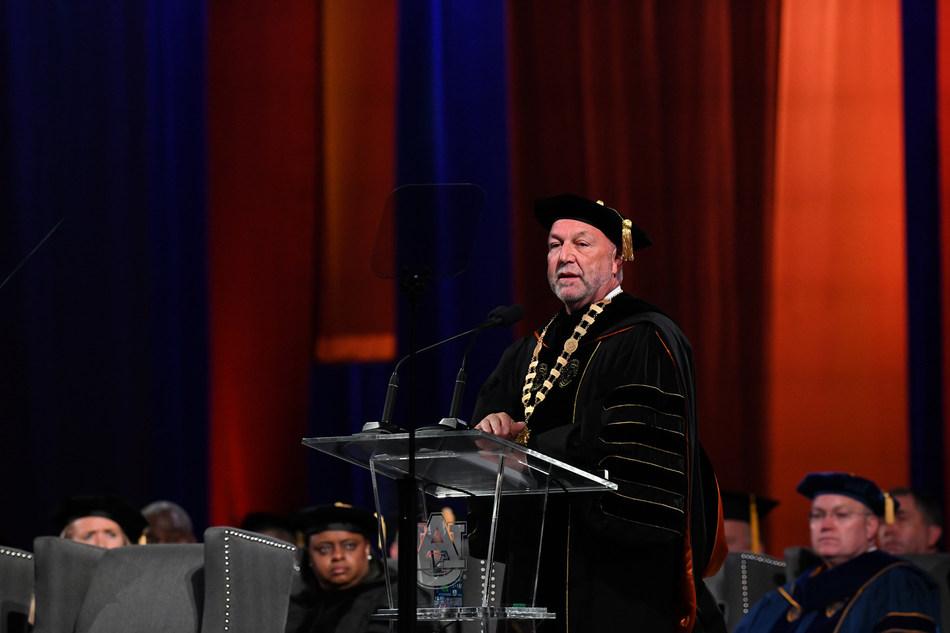 Auburn University President Steven Leath presents a bold vision for Auburn's future at his presidential installation ceremony Thursday, March 29.