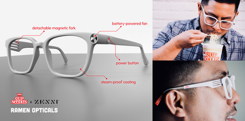 The first glasses designed to wear while eating Nissin Cup Noodles.